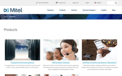 Screenshot of Products Page mitel.com - Mitel Products - captured Feb. 14, 2018