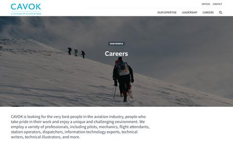 Screenshot of Jobs Page cavokgroup.com - Careers - captured July 14, 2018