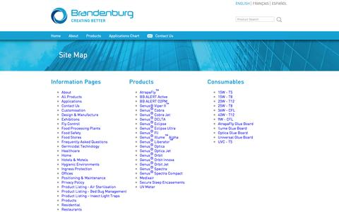 Screenshot of Site Map Page b-one.com - BRANDENBURG :: +44 (0)1384 472 900, manufacturers and designers of flying insect control systems - captured Feb. 8, 2016