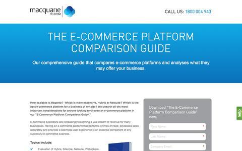 Screenshot of Landing Page macquarietelecom.com - Macquarie Telecom - The E-Commerce Platform Comparison Guide - captured Oct. 20, 2016