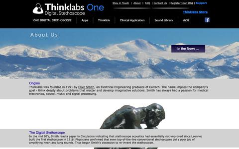 Screenshot of About Page thinklabs.com - Thinklabs - About Us - captured Sept. 21, 2018