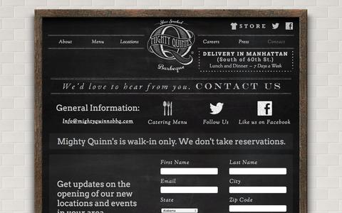 Screenshot of Contact Page mightyquinnsbbq.com - Contact - captured Oct. 27, 2014