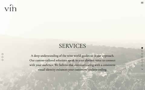 Screenshot of Services Page vinagency.com - Services | Vin – Fine Brand Design for the Wine World - captured Oct. 27, 2017
