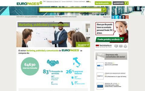 Screenshot of europages.es - Marketing, publicidad y comunicación , todos los proveedores para España y Europa de EUROPAGES - captured Sept. 12, 2015