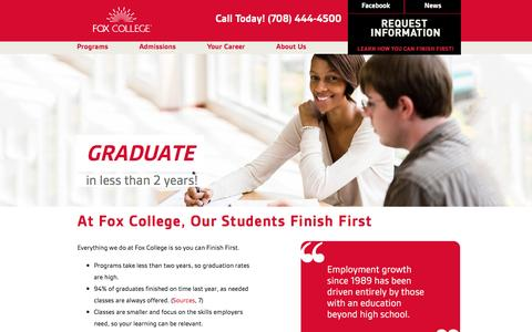 Screenshot of Home Page foxcollege.edu - Fox College: Admissions to Associate Degree and Diploma Programs in Business,  Technology, Health Care - captured Jan. 8, 2016