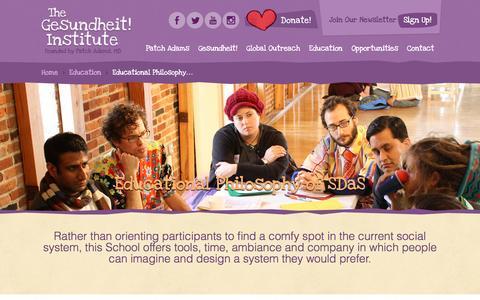 Screenshot of About Page patchadams.org - Gesundheit! Institute Educational Philosophy of SDaS - Gesundheit! Institute - captured Jan. 28, 2016