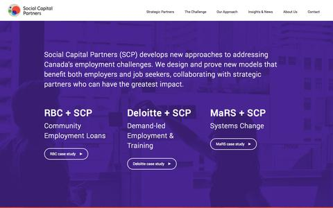 Screenshot of Home Page socialcapitalpartners.ca - Social Capital Partners - captured Sept. 30, 2014