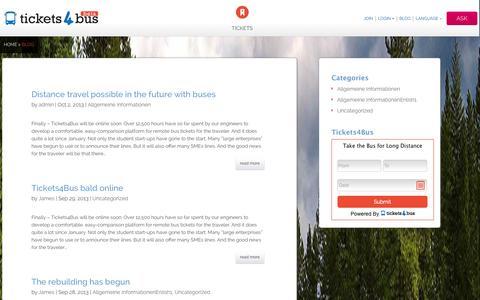 Screenshot of Blog tickets4bus.com - Blog - - captured Sept. 24, 2014