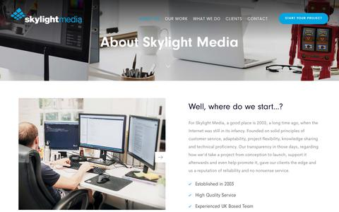Screenshot of About Page skylightmedia.co.uk - Web Design Agency Nottingham, Design, Development & Marketing - Skylight Media - captured Nov. 24, 2019