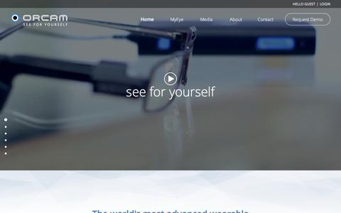 Screenshot of Home Page orcam.com - OrCam - captured Sept. 18, 2016