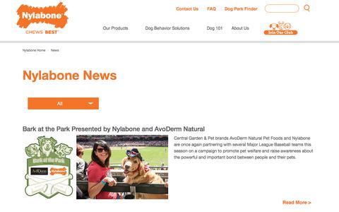 Screenshot of Press Page nylabone.com - Nylabone in The News  & Press - captured Sept. 21, 2018