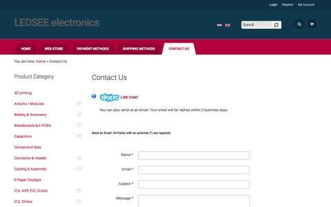 Screenshot of Contact Page ledsee.com - Contact Us - captured July 9, 2016