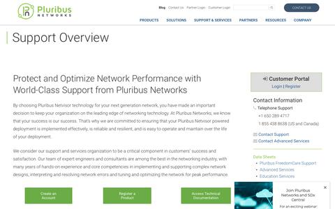 Screenshot of Support Page pluribusnetworks.com - Support Overview - Pluribus Networks - captured Dec. 30, 2018