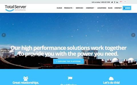 Screenshot of Home Page my-tss.com - High Performance Cloud, Dedicated Hosting, Managed Servers, Managed Server Solutions, SSL Certificates | Total Server Solutions - captured Feb. 6, 2016