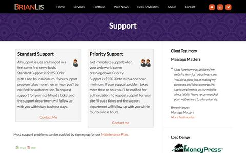 Screenshot of Support Page brianlis.com - Support - WordPress Consultant - captured Jan. 25, 2016