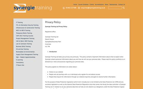 Screenshot of Privacy Page synergietraining.co.uk - Privacy Policy - Synergie Training - captured Oct. 20, 2018