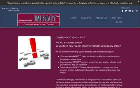 Screenshot of About Page communication-impact.ca - Montreal SEO - Online Marketing - Video Marketing - Lead Generation - captured Oct. 18, 2018