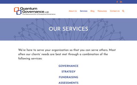 Screenshot of Services Page quantumgovernance.net - Services | Quantum Governance, L3C - captured Aug. 31, 2017