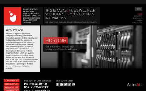 Screenshot of Home Page aabasoft.com - Offshore Software Development Company India - Custom Software Developers - captured Dec. 23, 2015