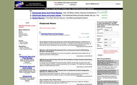Screenshot of Home Page bignews.biz - BigNews.biz distributes news and press release - captured Sept. 25, 2014