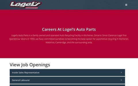 Screenshot of Jobs Page logels.com - Careers - Logel's Auto Parts - captured Sept. 25, 2018