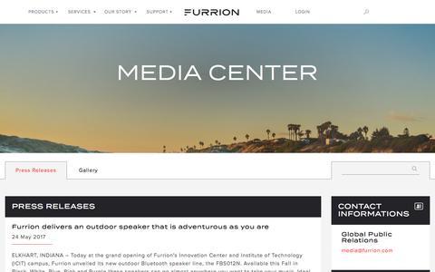 Screenshot of Press Page furrion.com - Media - Furrion - captured June 6, 2017