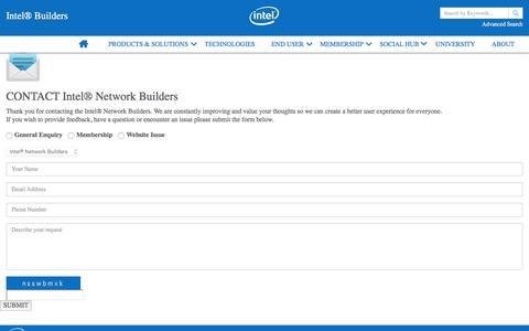Screenshot of Contact Page intel.com - Intel® Builders – Contact Us - captured Dec. 17, 2016