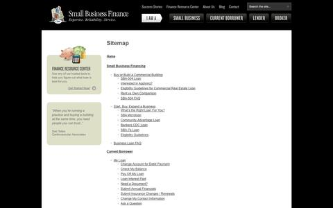 Screenshot of Site Map Page cdcloans.com - Business Start Up Loans, Small Business Financing SD, Commerical Real Estate Loans | CDC Small Business - captured Sept. 19, 2014