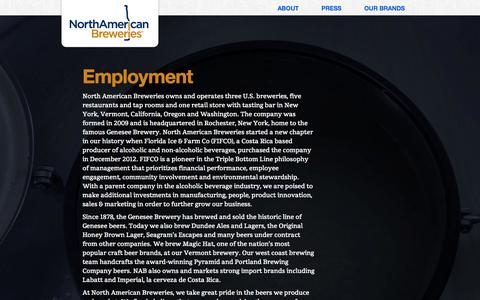 Screenshot of Jobs Page nabreweries.com - Employment | nabreweries.com - captured Sept. 22, 2014