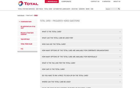 Screenshot of FAQ Page total-ghana.com - Total Card Faq - captured Oct. 26, 2018