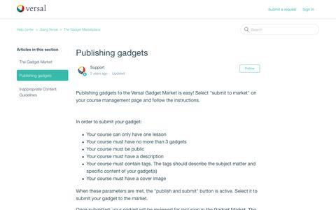 Screenshot of Support Page versal.com - Publishing gadgets – Help center - captured Dec. 3, 2019