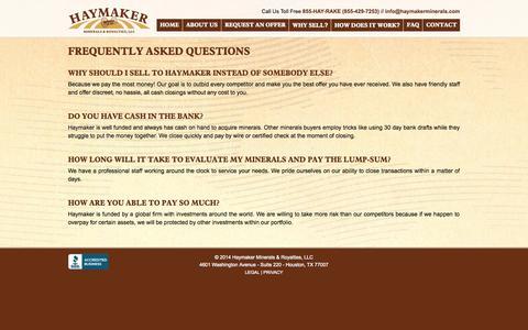 Screenshot of FAQ Page haymakermineralsandroyalties.com - FAQs   Haymaker Minerals & Royalties, LLC - captured Oct. 2, 2014