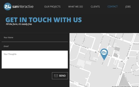 Screenshot of Contact Page san-i.co.il - San Interactive | Contact Us - captured Feb. 4, 2016
