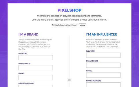 Screenshot of Signup Page pixelshop.io - Pixelshop | Sign up - captured July 8, 2018