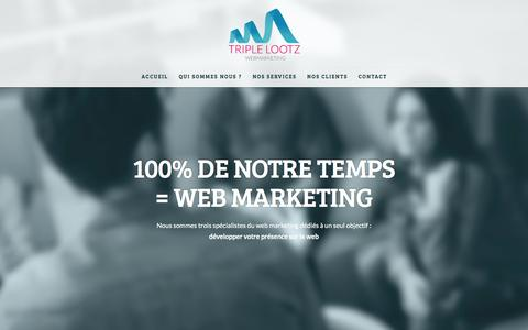 Screenshot of Home Page triplelootz.com - Agence de référencement & webmarketing à Capbreton, Landes - captured March 8, 2016