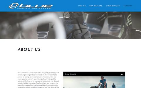 Screenshot of About Page rideblue.com - Blue Competition Cycles-ABOUT US - captured Nov. 6, 2016