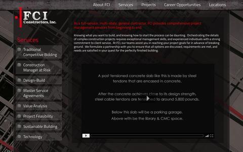 Screenshot of Services Page fciol.com - Services | FCI Constructors Inc. General Construction Contractors - captured Oct. 5, 2014