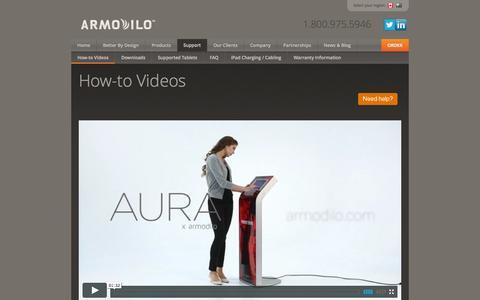 Screenshot of Support Page armodilo.com - Videos   iPad Kiosk   Tablet Stand   Tablet Enclosure - captured Sept. 30, 2014