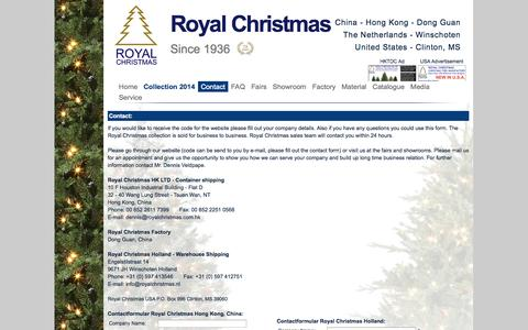 Screenshot of Contact Page royalchristmas.com - Royal Christmas - Contact / Route - Contact information Royal Christmas Hong Kong / China - Winschoten / The Netherlands - captured Oct. 6, 2014
