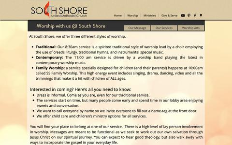 Screenshot of Services Page southshoreumc.com - South Shore United M | Our Services - captured Nov. 7, 2018