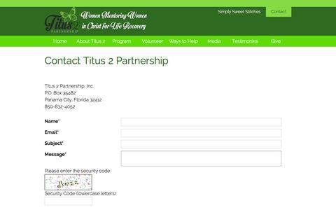 Screenshot of Contact Page titus2partnership.org - Titus 2 Partnership, Inc. | Addiction recovery - captured Feb. 7, 2016