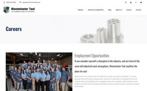 Screenshot of Jobs Page westminstertool.com - Careers - Westminster Tool Inc. - captured Nov. 18, 2018