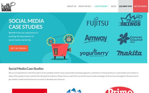 Screenshot of Case Studies Page hellosocial.com.au - Social Media Case Studies - captured Jan. 28, 2016