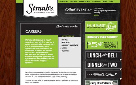 Screenshot of Jobs Page straubs.com - Careers | Straub's - captured Sept. 30, 2014