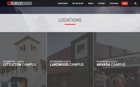 Screenshot of Locations Page redrockschurch.com - Locations   Red Rocks Church - captured July 6, 2016