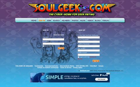 Screenshot of Login Page soulgeek.com - Geek Dating Sign In - captured Nov. 8, 2018