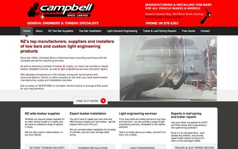 Screenshot of Home Page campbellbros.co.nz - Towbars New Zealand, Tow bar installation & supply NZ, Hawkes Bay - captured June 30, 2018