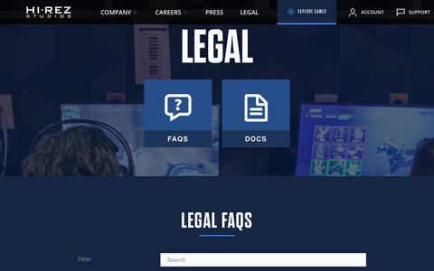 Screenshot of Terms Page hirezstudios.com - Hi-Rez Studios || Legal - captured Aug. 12, 2019