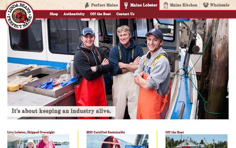 Screenshot of Home Page lindabeansmainelobster.com - Fresh Maine Lobster - Linda Bean's Perfect Maine - captured June 19, 2015