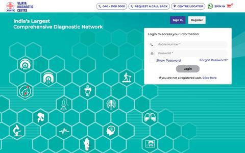 Screenshot of Login Page vijayadiagnostic.com - Login/Signin || Vijaya Diagnostic Centre - captured Oct. 2, 2019